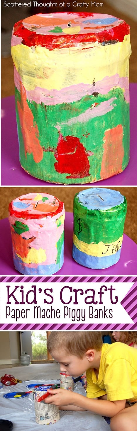 Kid Craft project: Paper Mache Piggy Banks