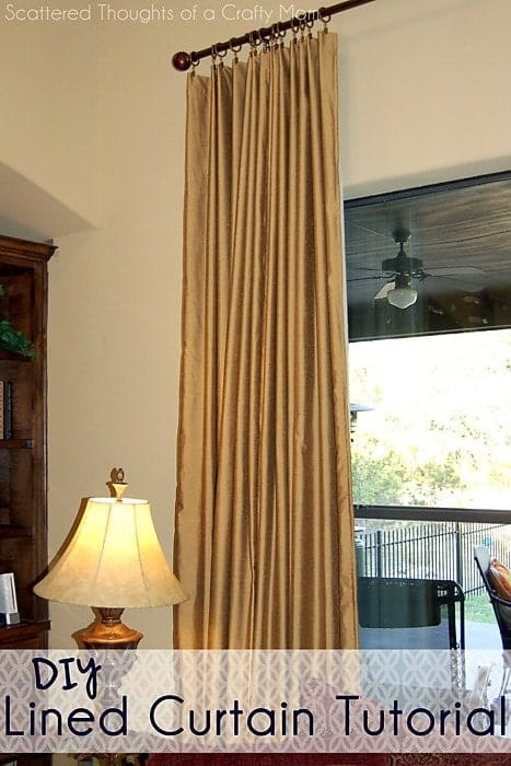 family room window treatments with a lined curtain panel tutorial scattered thoughts of a. Black Bedroom Furniture Sets. Home Design Ideas
