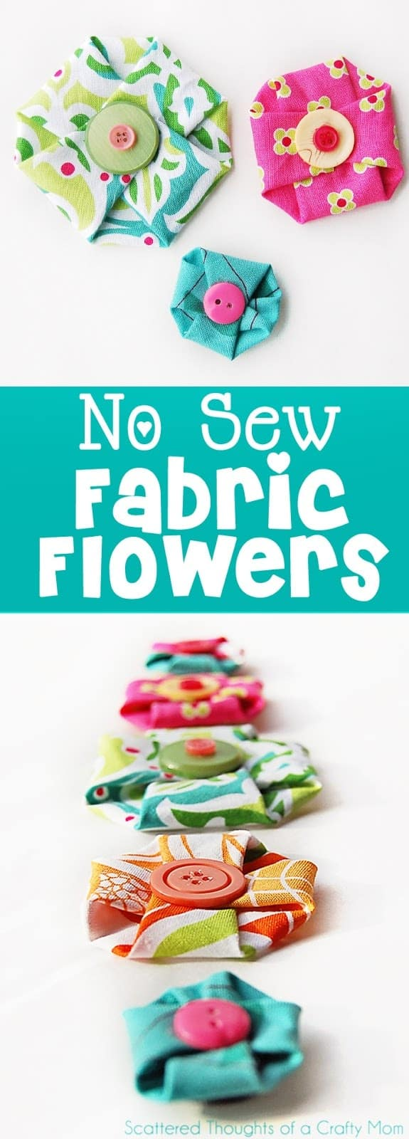 Make these adorable No Sew Fabric Flowers in less than a minute! (no sew flowers)