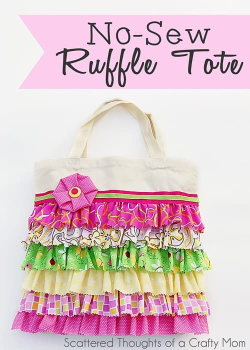 No Sew Ruffled Tote Bag Tutorial