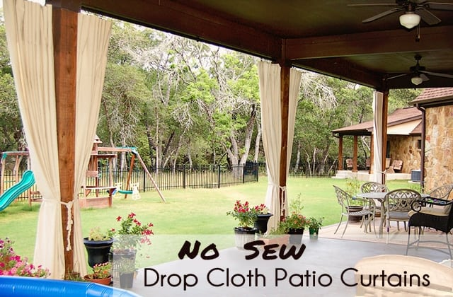 Brilliant Diy Patio Curtains From Drop Cloths With No Sewing Home Interior And Landscaping Synyenasavecom
