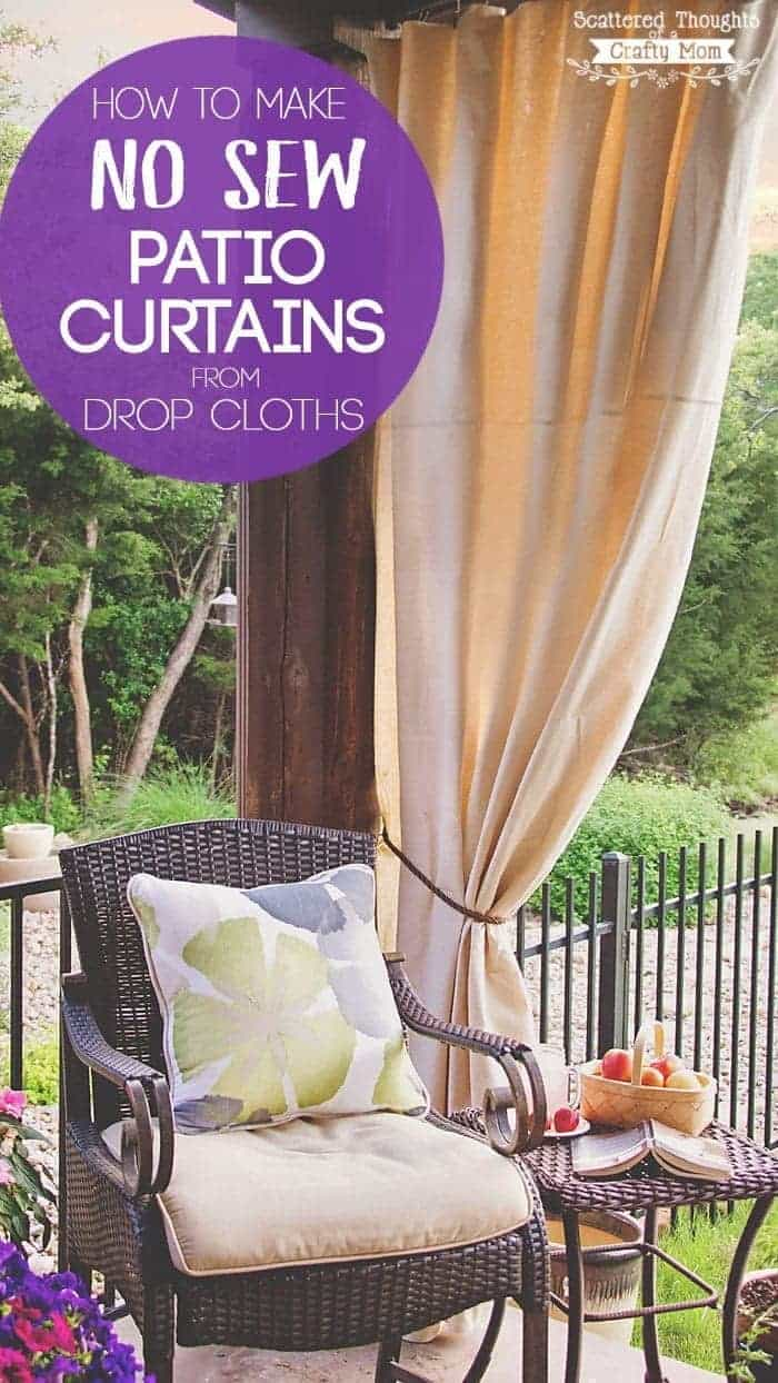 Pleasant Diy Patio Curtains From Drop Cloths With No Sewing Home Interior And Landscaping Synyenasavecom
