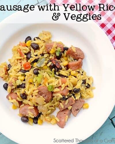 Sausage with Yellow Rice and Veggies