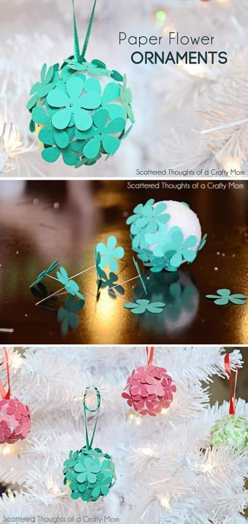 Paper Flower Christmas Tree Ornament Craft for Kids