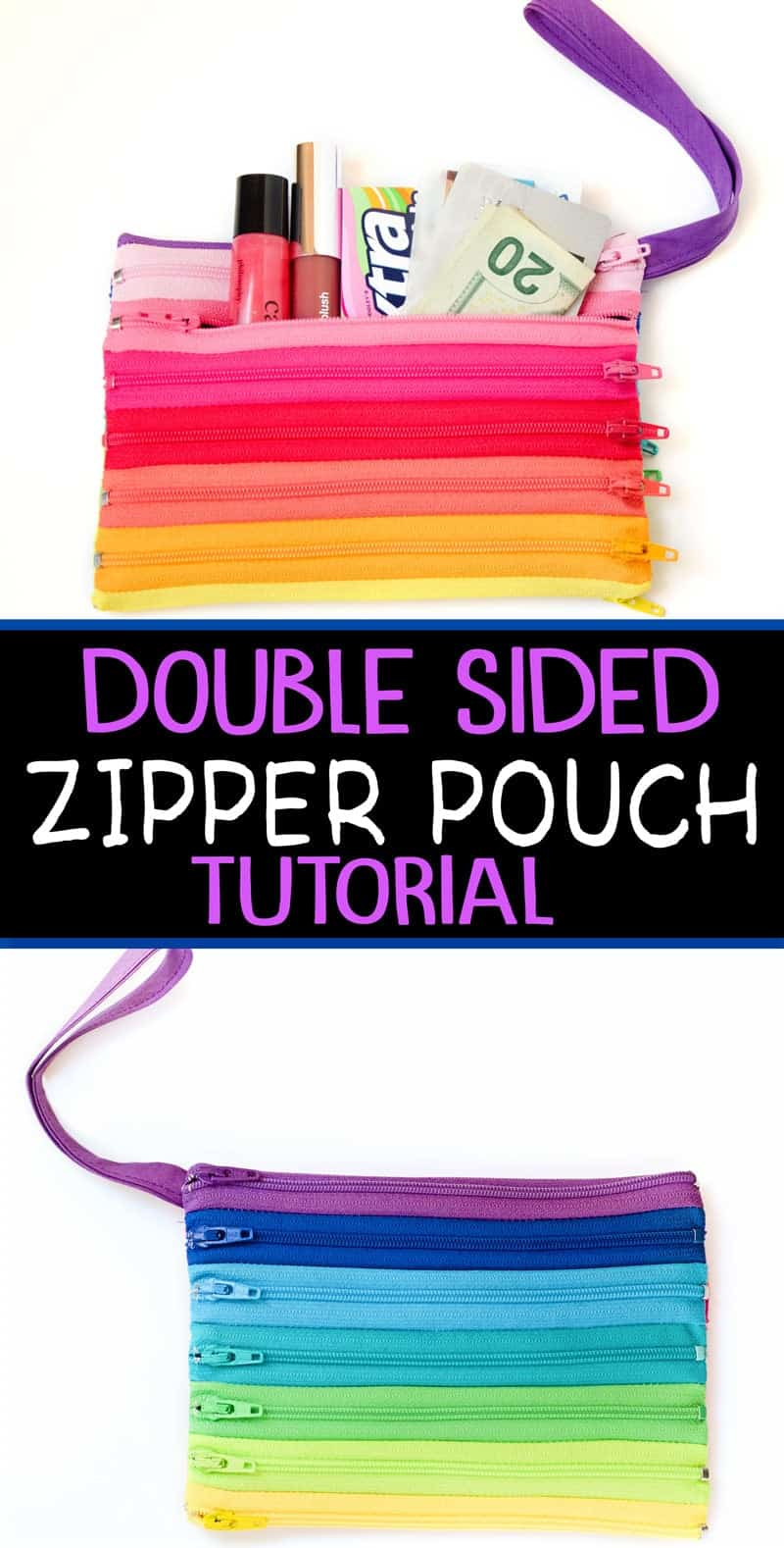 Got zippers? Make this darling Rainbow zipper pouch with this easy zipper pouch tutorial!