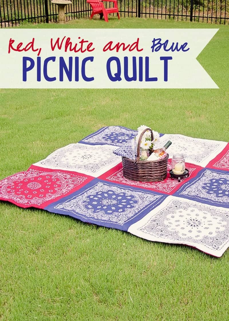 Red White and Blue Patriotic Picnic Quilt. How to Make a Bandana Quilt in just a few hours. (Using the no binding method.)