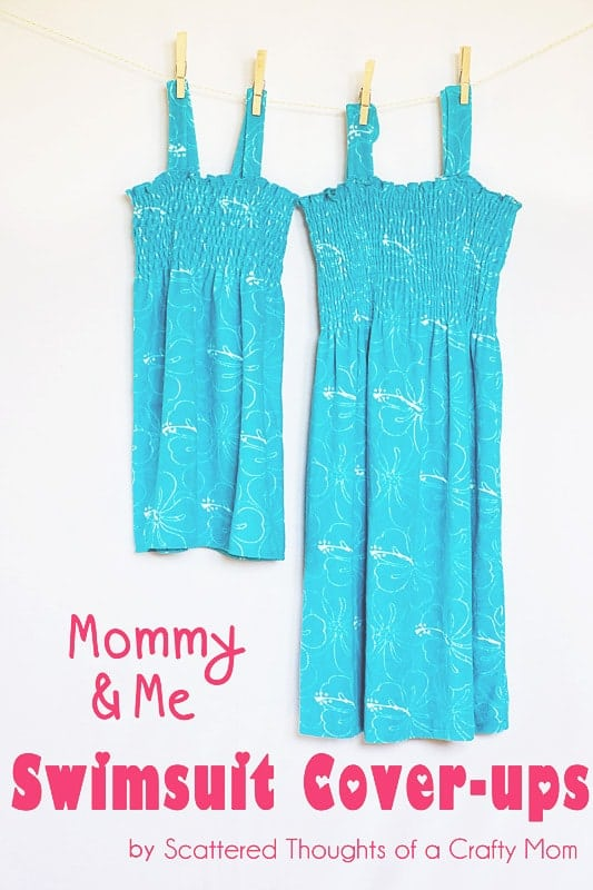 Mommy and Me Swimsuit cover-up tutorial. (So easy and oh-so cute!) #Sewing #tutorial #coverup
