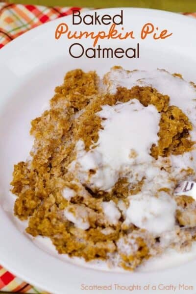 Baked Pumpkin Oatmeal with Thickened Cream