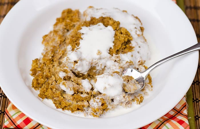 Pumpkin Pie Baked Oatmeal with Thickened Cream