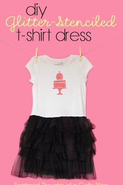 DIY Glitter Stenciled T-shirt Dress