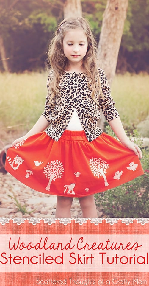 See how to make an adorable and original skirt using fabric paint and stencils!