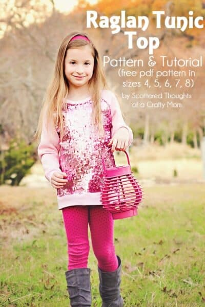 Sequined Raglan Tunic Top Tutorial and Free Pattern in Size 4 to 8