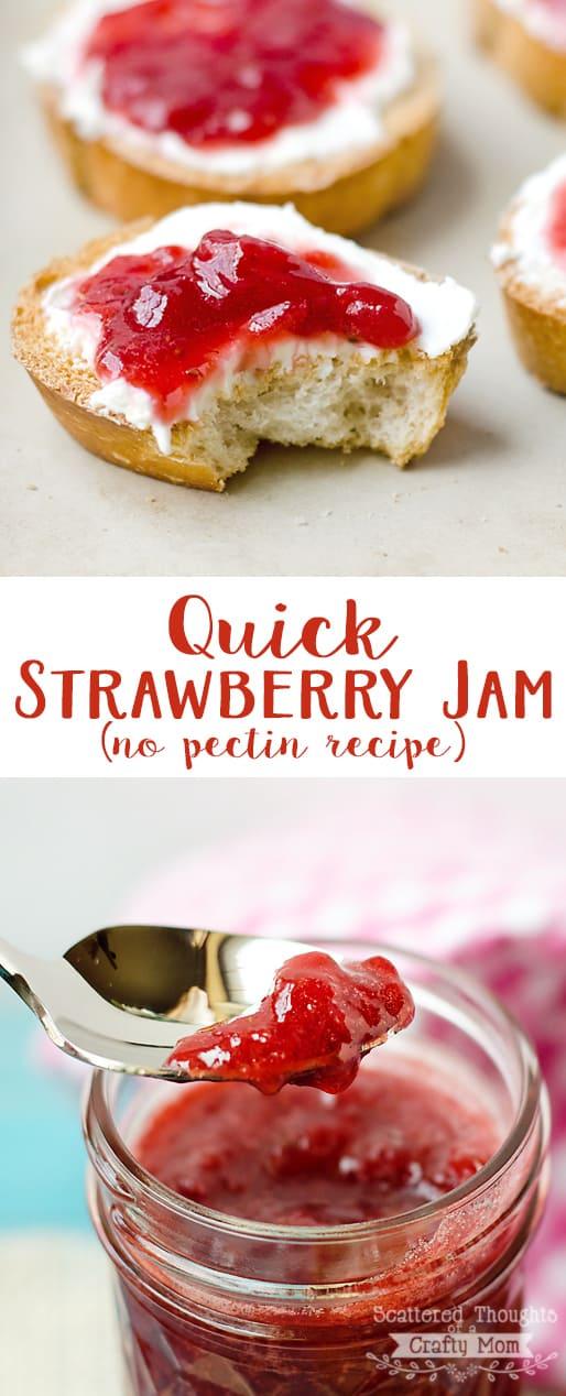 Easy Strawberry Jam Recipe with no Pectin.