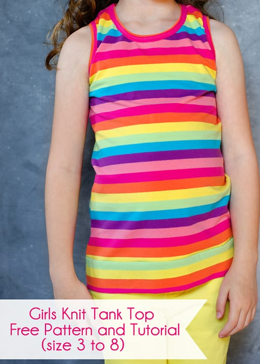 Girls Knit Tank Top, free pattern and tutorial. Size 3 to 8.