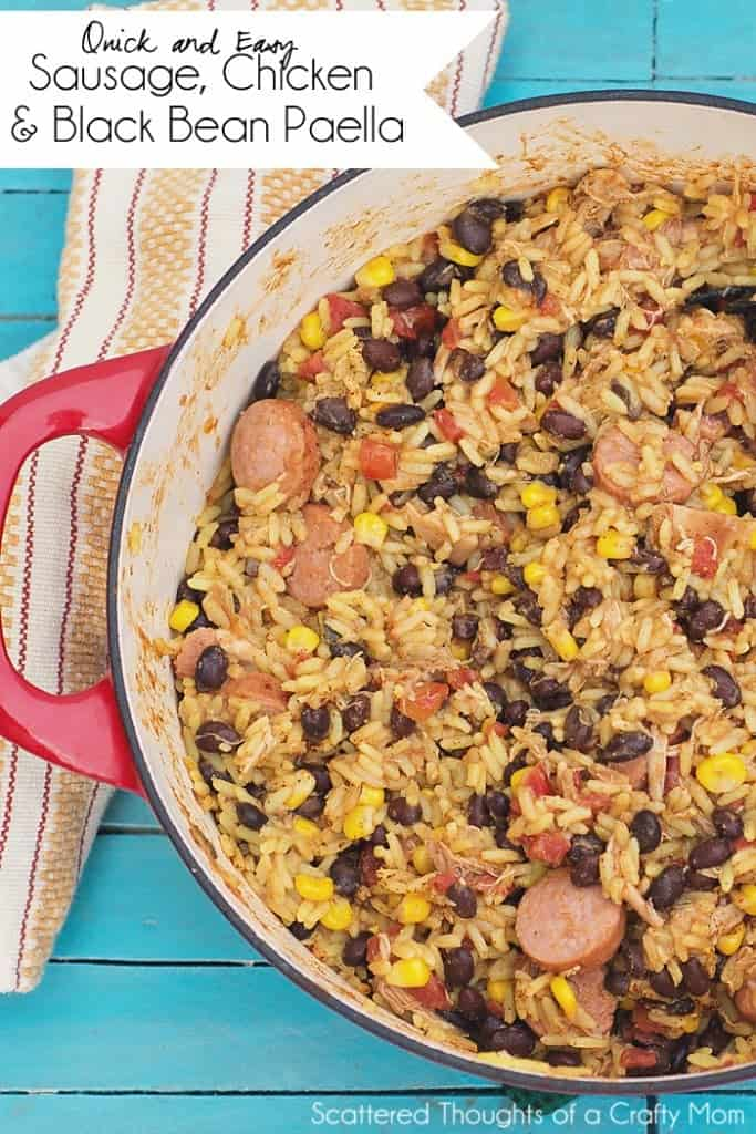 A quick and easy shortcut recipe for Sausage, Chicken and Black Bean Paella.