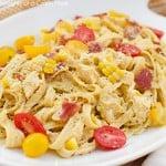 Fettuccine w/ Bacon, Chicken and Fresh Corn Pesto