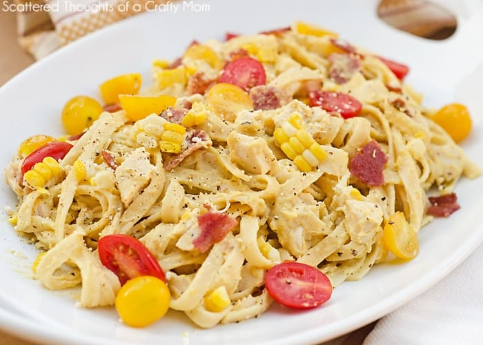 Fettuccine w/ Bacon, Chicken and Fresh Corn Pesto - Scattered Thoughts ...