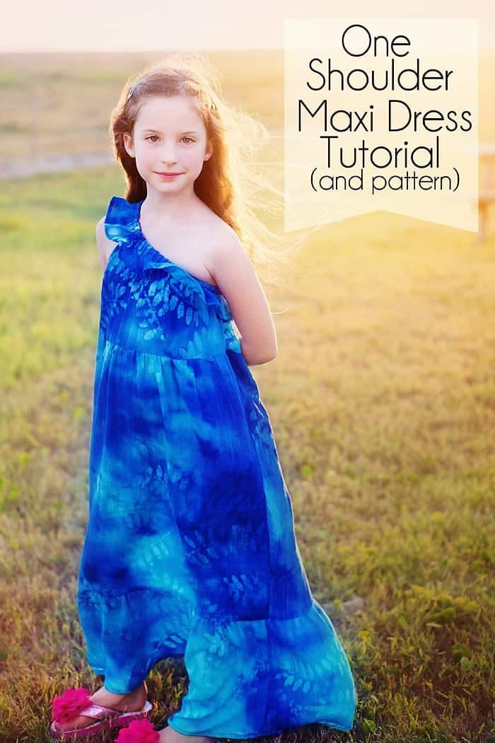 One Shoulder Maxi Dress Pattern and tutorial for girls