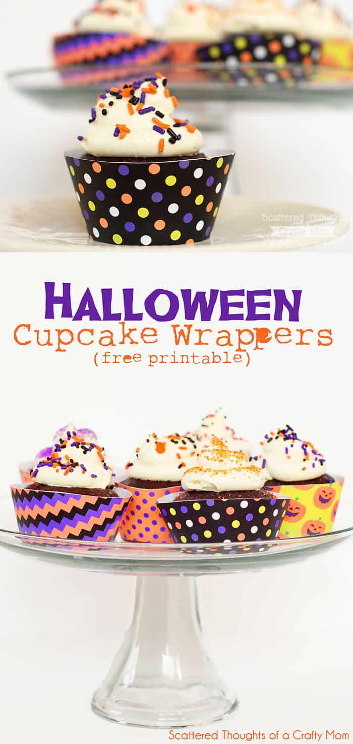 photo about Printable Cupcake Wrappers titled Halloween Cupcake Wrappers (no cost printable) - Scattered