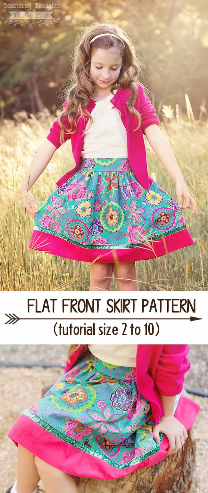 Free Flat Front Skirt Pattern for Girls