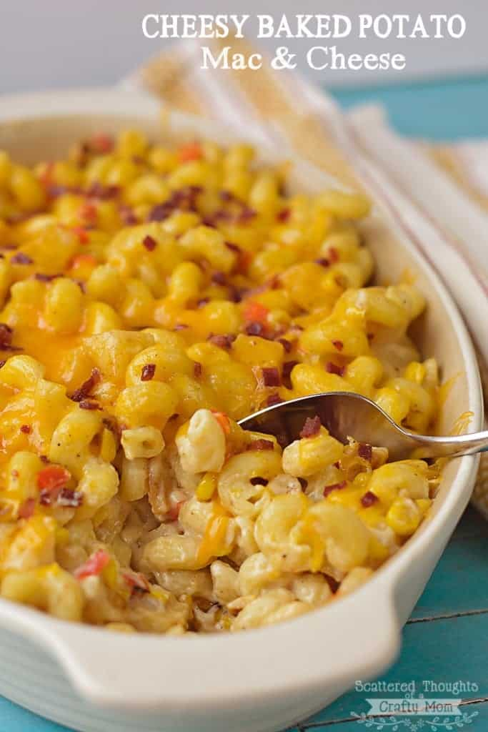 Potatoes, corn and cajun spices come together to make this delicious and hearty Cheesy Baked Potato Mac and Cheese Recipe.