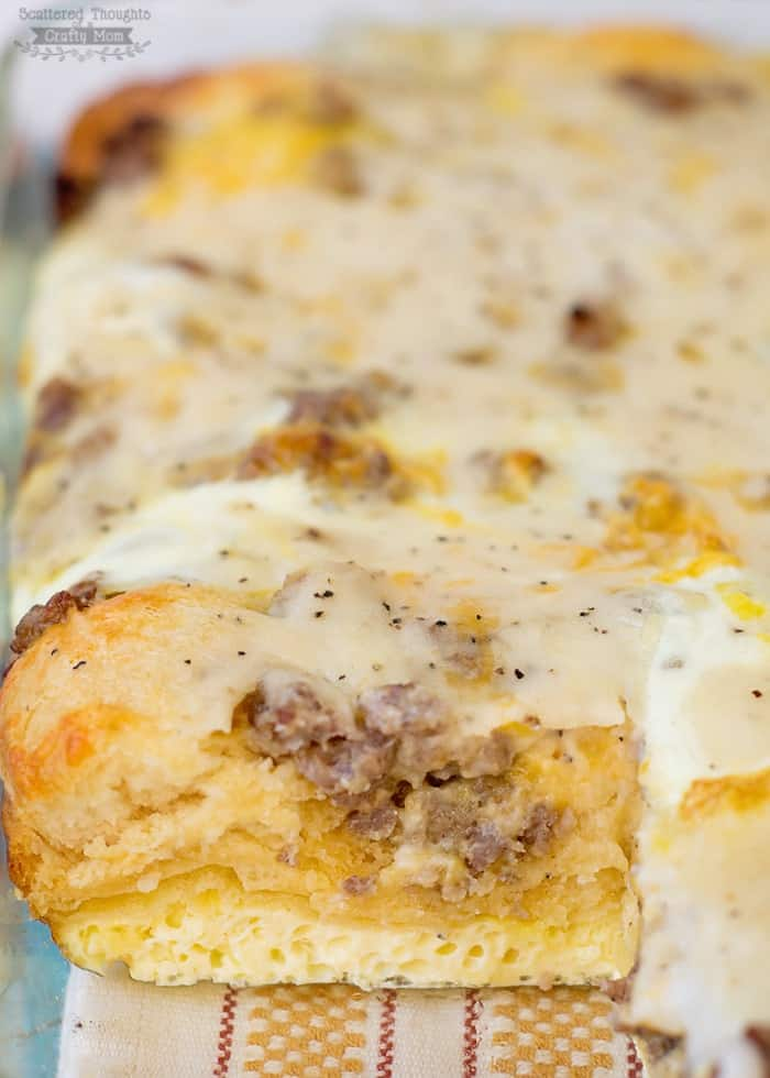 Biscuits And Gravy With Sausage And Egg Breakfast Casserole