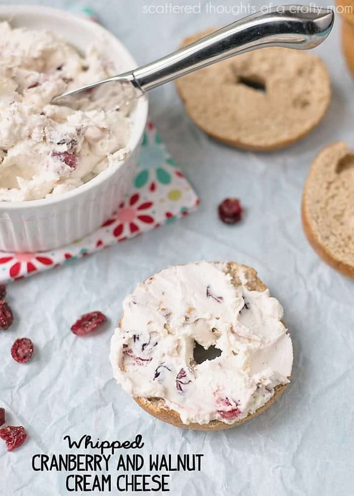 Make this delicious Whipped Cranberry and Walnut Cream Cheese for your next lazy Sunday Morning. No more whipped cream cheese from a tub!