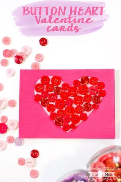 Button Heart Valentine Cards