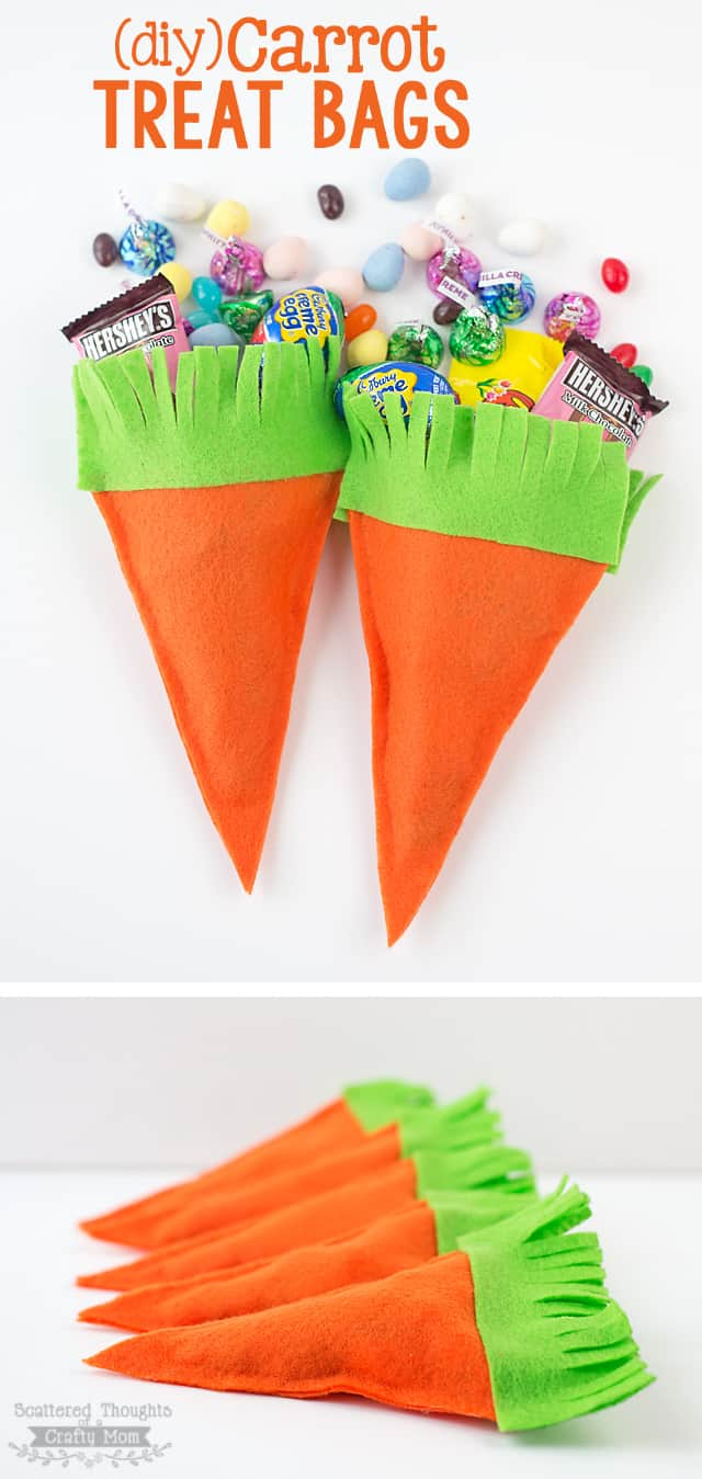 Make these darling DIY Carrot Treat Bags with this Easy Carrot Treat Bag Tutorial. Made with felt and glue and perfect to fill with Easter candy!