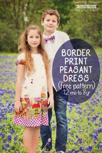 Border Print Peasant Dress for Spring (free pattern)