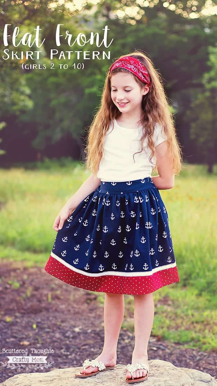 Red White and Blue Flat Front Skirt. (free skirt pattern for girls, sizes 2 to 10.)