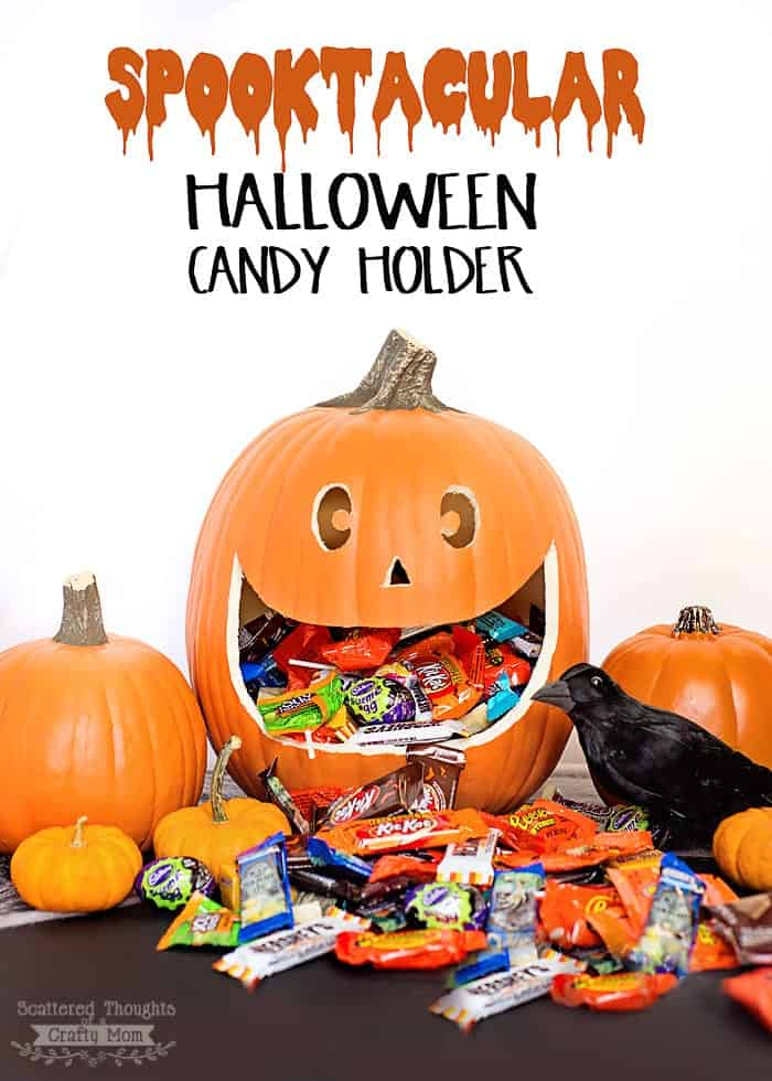 Easy Halloween Pumpkin Candy Holder and Display Made From a Carvable Pumpkin!