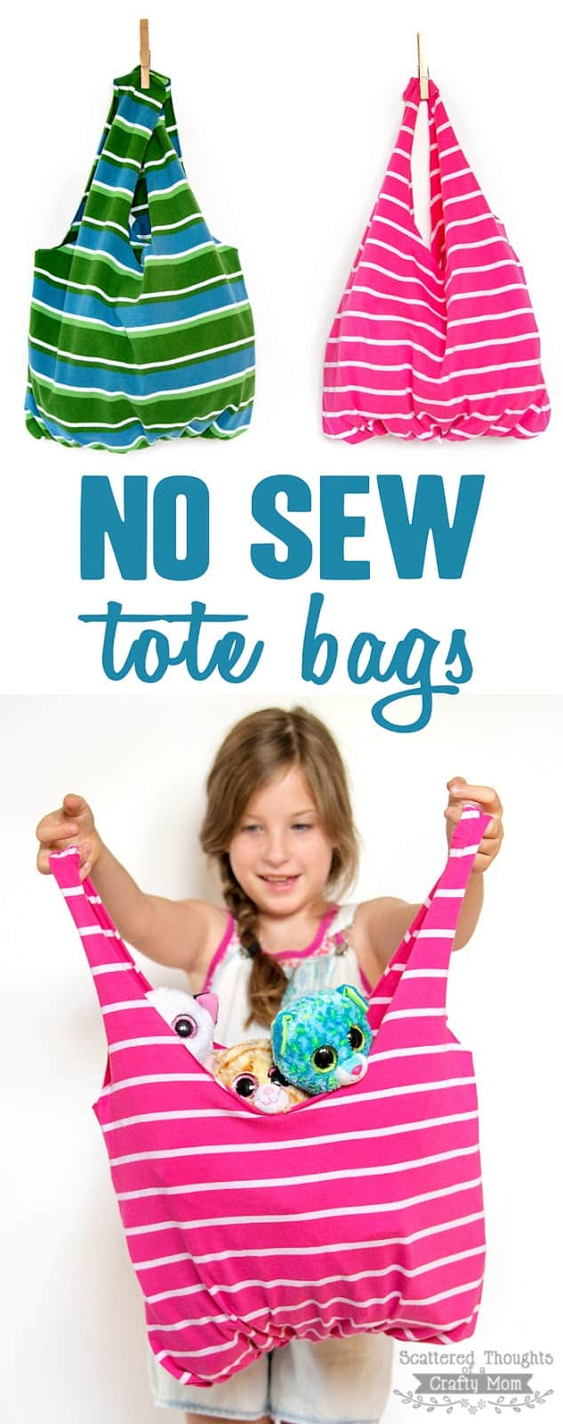 Learn how to make these No Sew Tote Bags. All you need is an old T-shirt and a pair of scissors! (Upcycling / recycling at its best!)