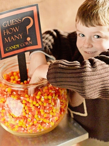Halloween Party Games for Kids - candy corn guessing game