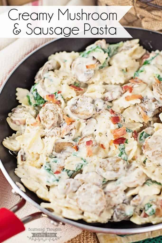 This Creamy Mushroom and Sausage Pasta is a quick and easy meal solution for those busy nights you need to have dinner on the table in 30 minutes or less!