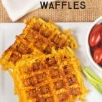These Easy Mac and Cheese Waffles are crispy on the outside and cheesy on the inside! (Mac and cheese cooked on a waffle iron! ) What's not to love?