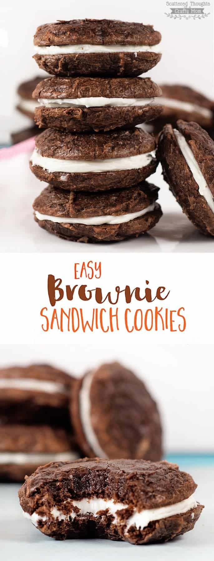 These Easy Brownie Sandwich Cookies are super easy to make since they are made using a boxed brownie mix!
