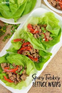 These Spicy Turkey Lettuce Wraps are a perfectly delicious low carb, low calorie dinner! The combination of Asian flavors and spices pair perfectly with the ground turkey. The best part is the recipe comes together in about 20 minutes!