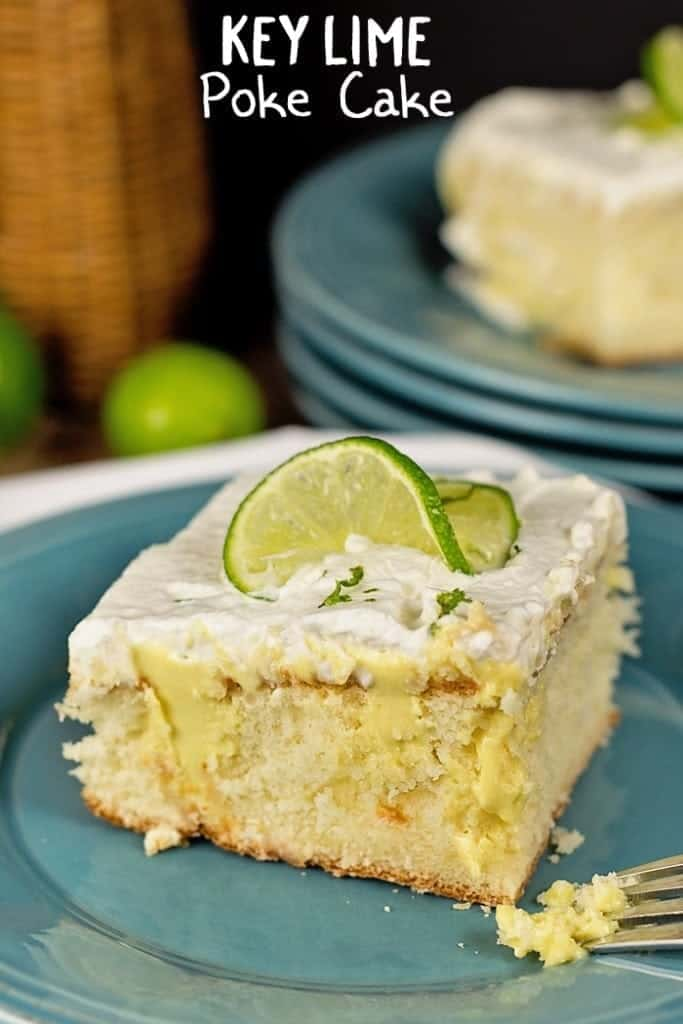 This Key Lime Poke Cake Recipe is so easy to make! The tangy lime flavors and yummy vanilla cake blend together deliciously in this Key Lime Poke Cake Recipe.