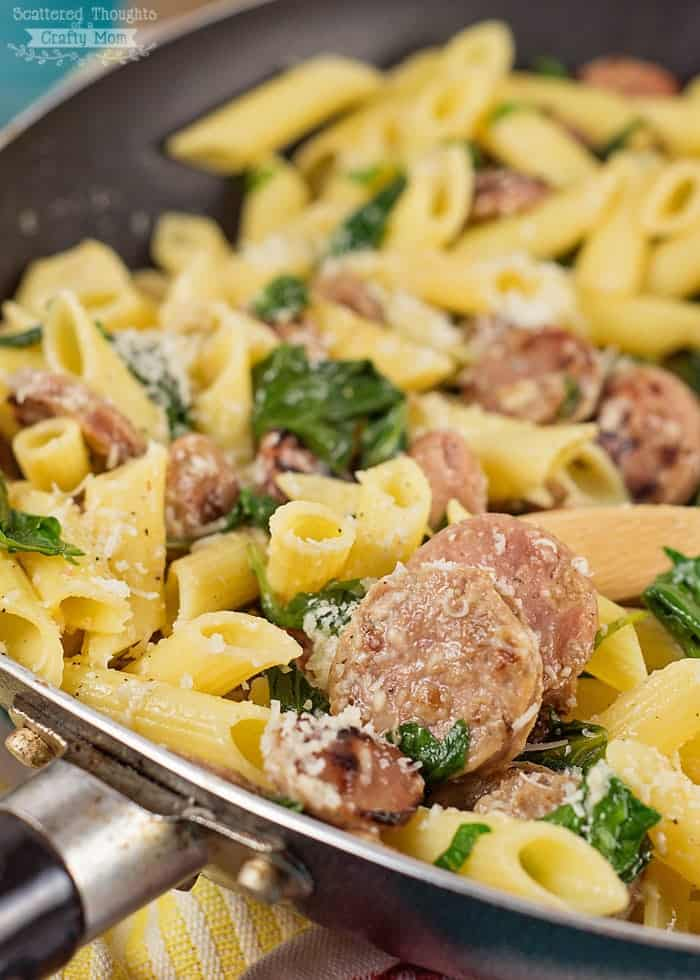 Quick and Easy Skillet Meal: Gluten Free Pasta with Sausage and Kale