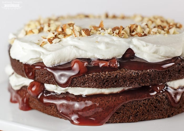 Easy layered cake made with brownies and cherry pie filling