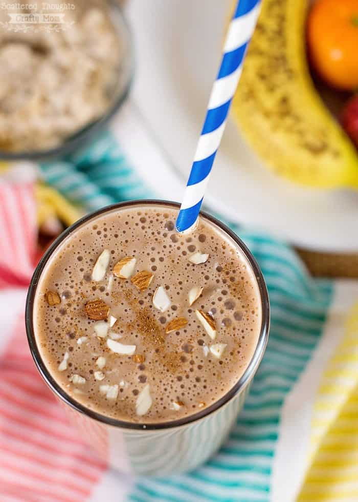 This Chocolate Banana Oatmeal Smoothie is packed with nutrition - perfect for starting your day! (plus it's an excellent way to serve up leftover oatmeal.)