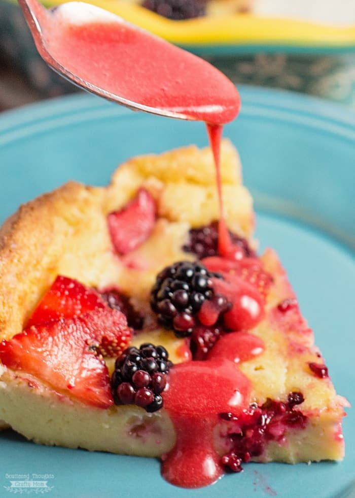 Puff Pancake with Fresh Berries & Strawberry Maple Sauce