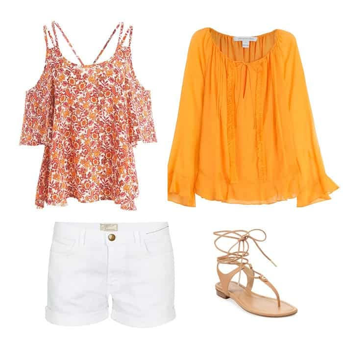 bohemian tops and white shorts outfit