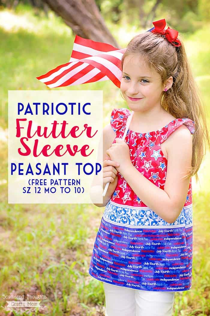 You can easily sew this adorable flutter sleeve peasant top with the free printable pattern in sizes 12 month to 10y!