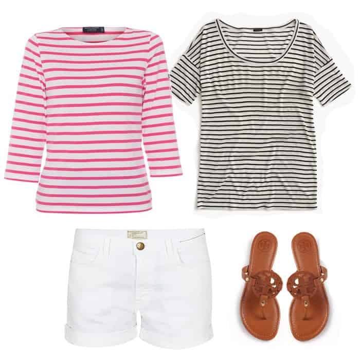 casual stripes and white shorts outfit