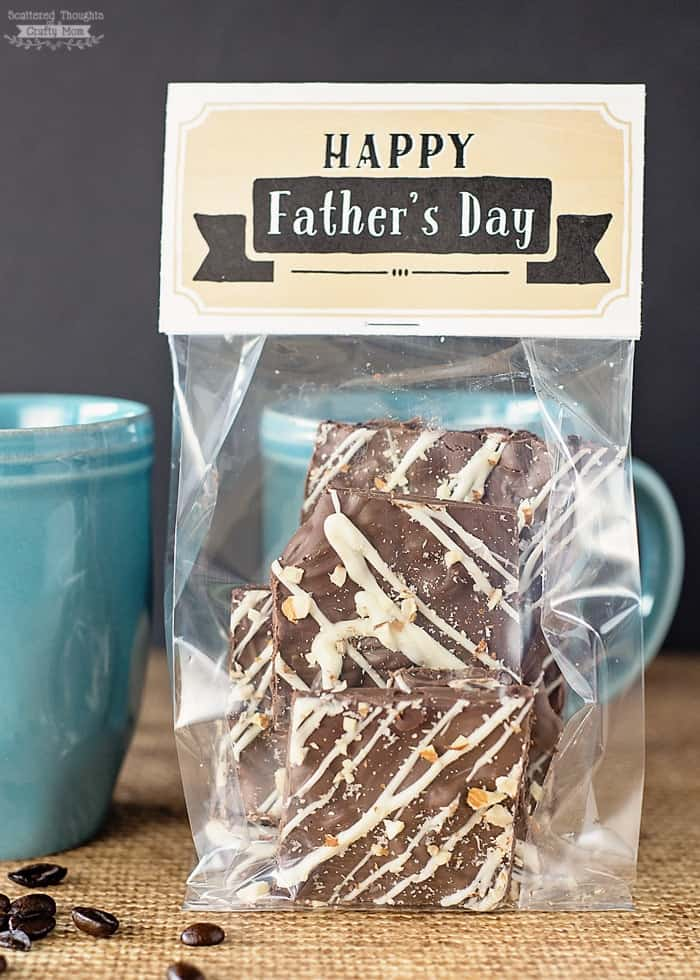 This Espresso Bean and Almond Chocolate Bark is the perfect treat for anyone who loves coffee and chocolate! Be sure to print out the included Father's Day Treat topper as a fabulous Father's Day gift idea!