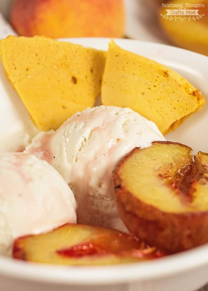 Roasted Peaches with Honeycomb and Vanilla Ice Cream