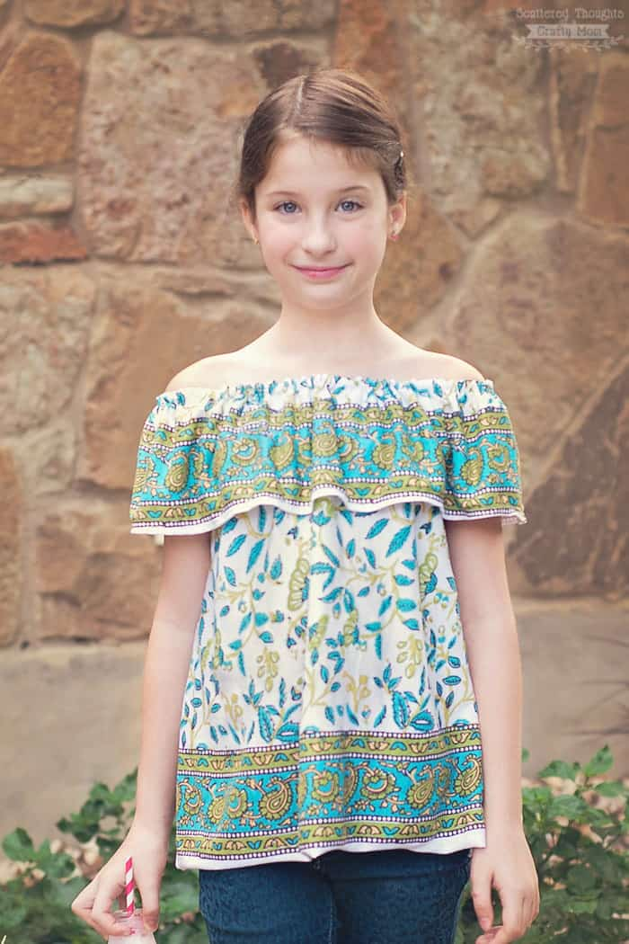 This Off-Shoulder Ruffle Top, is a free printable sewing pattern in ...
