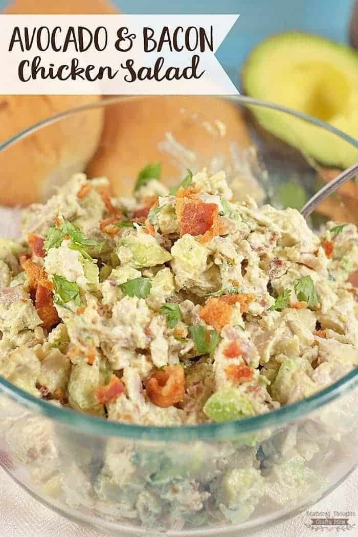 The best chicken salad recipe ever! You've got to try this Avocado and Bacon Chicken Salad- it's great on rolls, stuffed into an avocado or just served over lettuce.